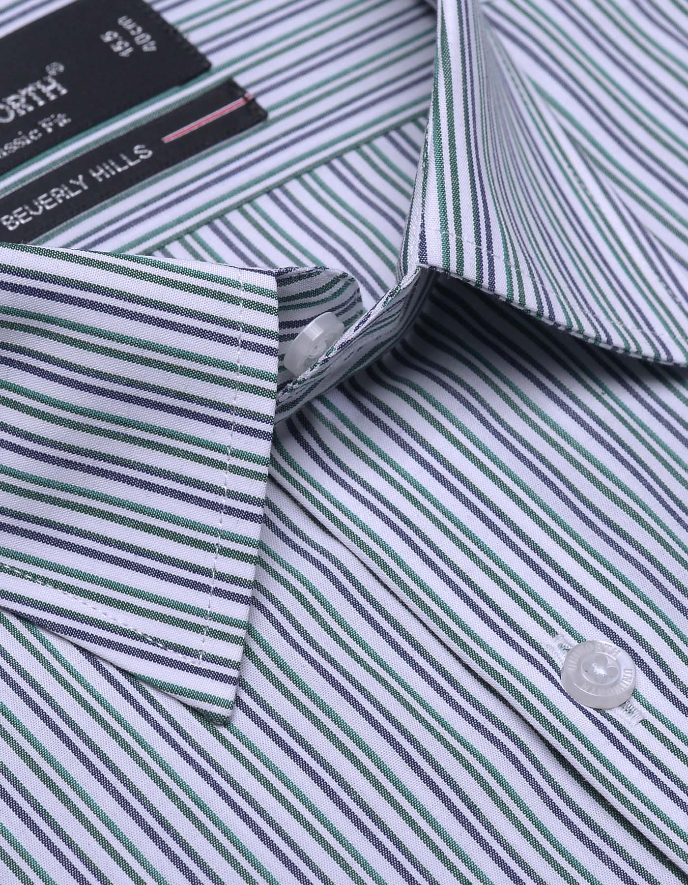 White And Green Stripe Classic Fit Dress Shirt
