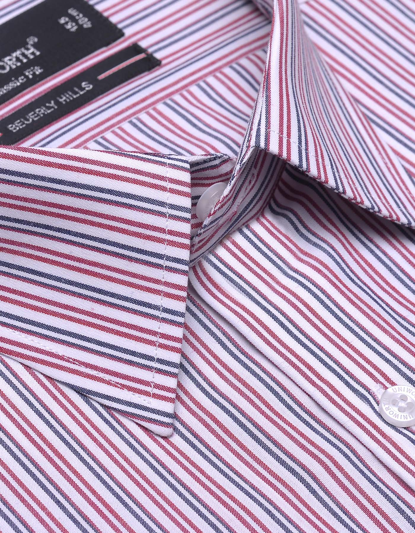 White And Red Stripe Classic Fit Dress Shirt
