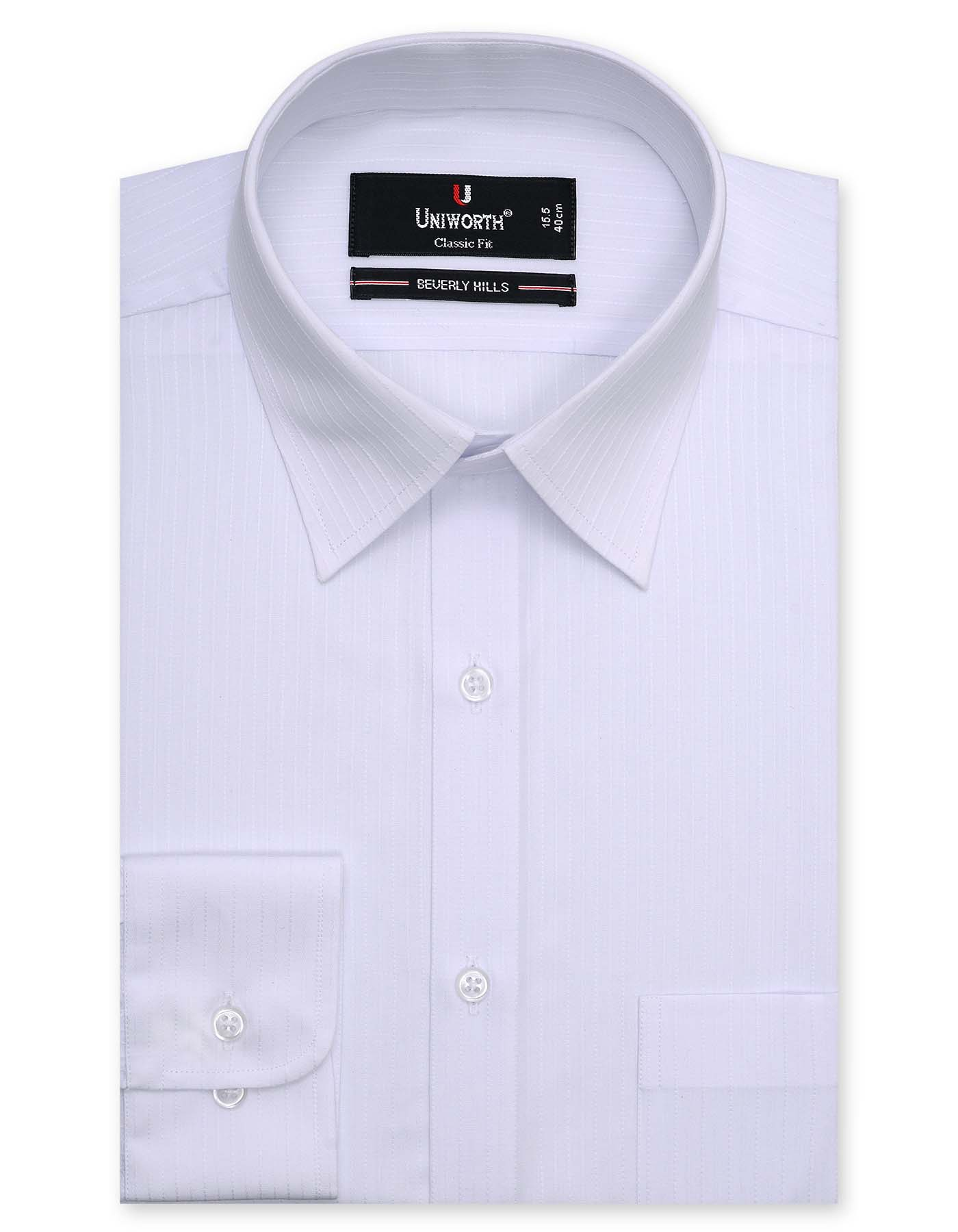 White Self Striped Classic Fit Dress Shirt