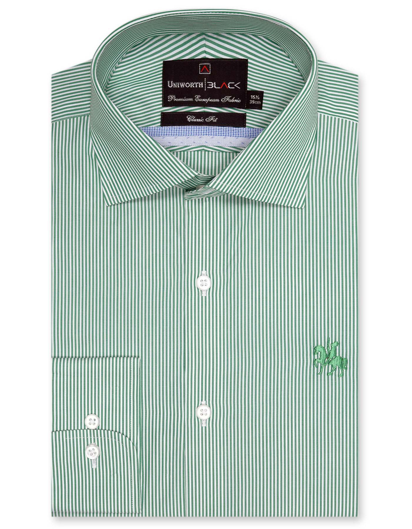 Green And White Stripe Classic Fit Full Sleeve Shirt