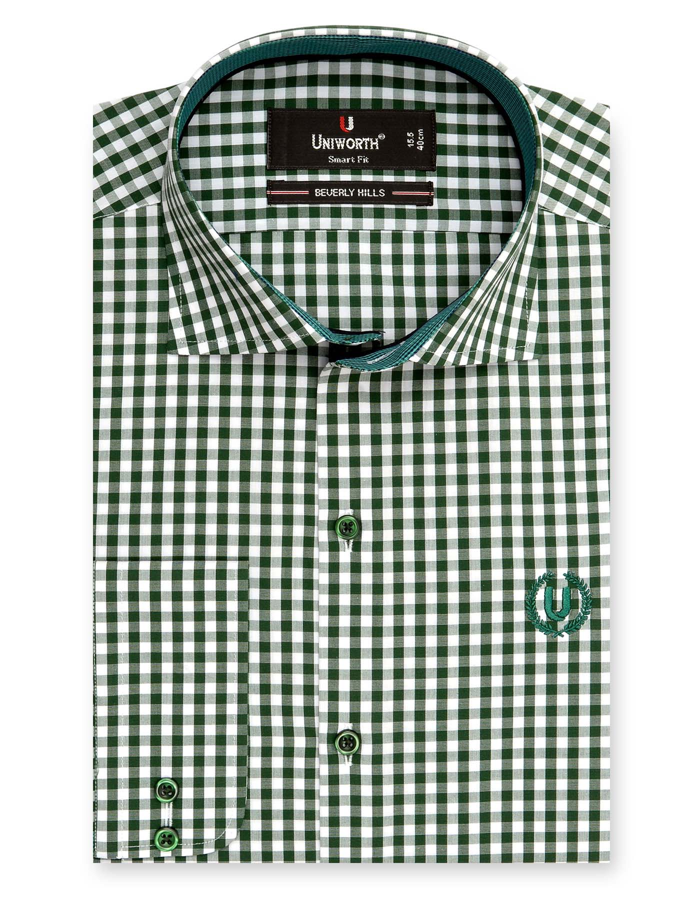 BEVERLY HILL GREEN AND WHITE CHECK SMART FIT DRESS