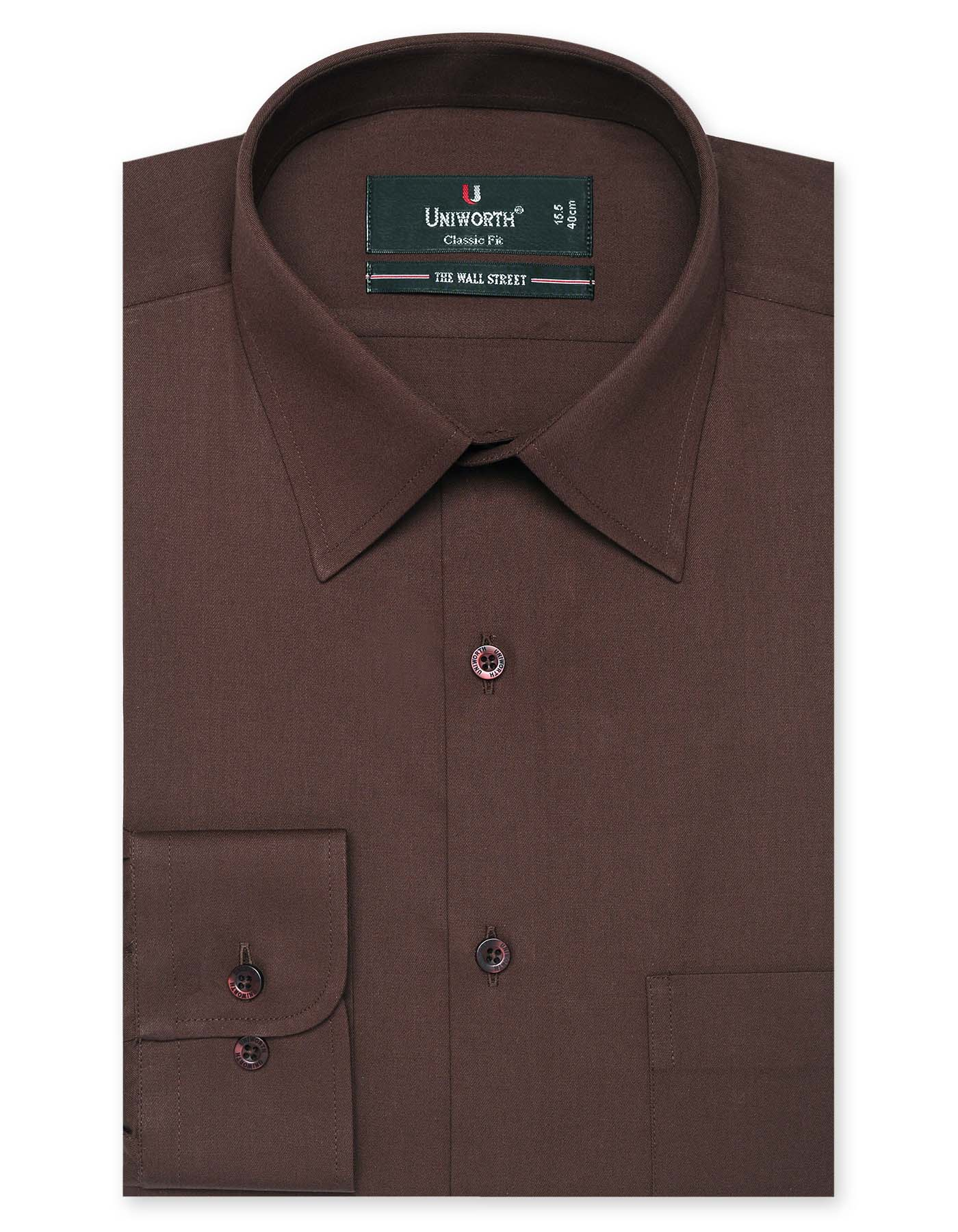 Brown Plain Classic Fit Dress Shirt
