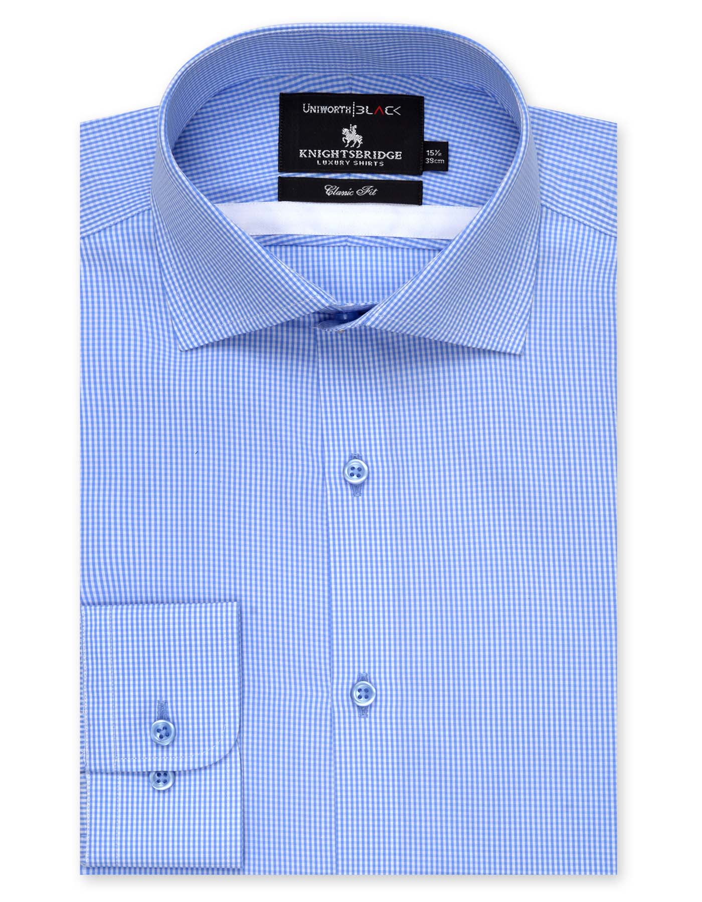 KNIGHTS BRIDGE WHITE AND SKY BLUE CHECK CLASSIC FIT DRESS SHIRT