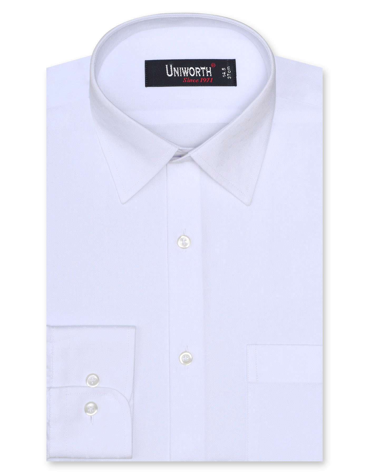 White Self Check Classic Fit Full Sleeve Shirt