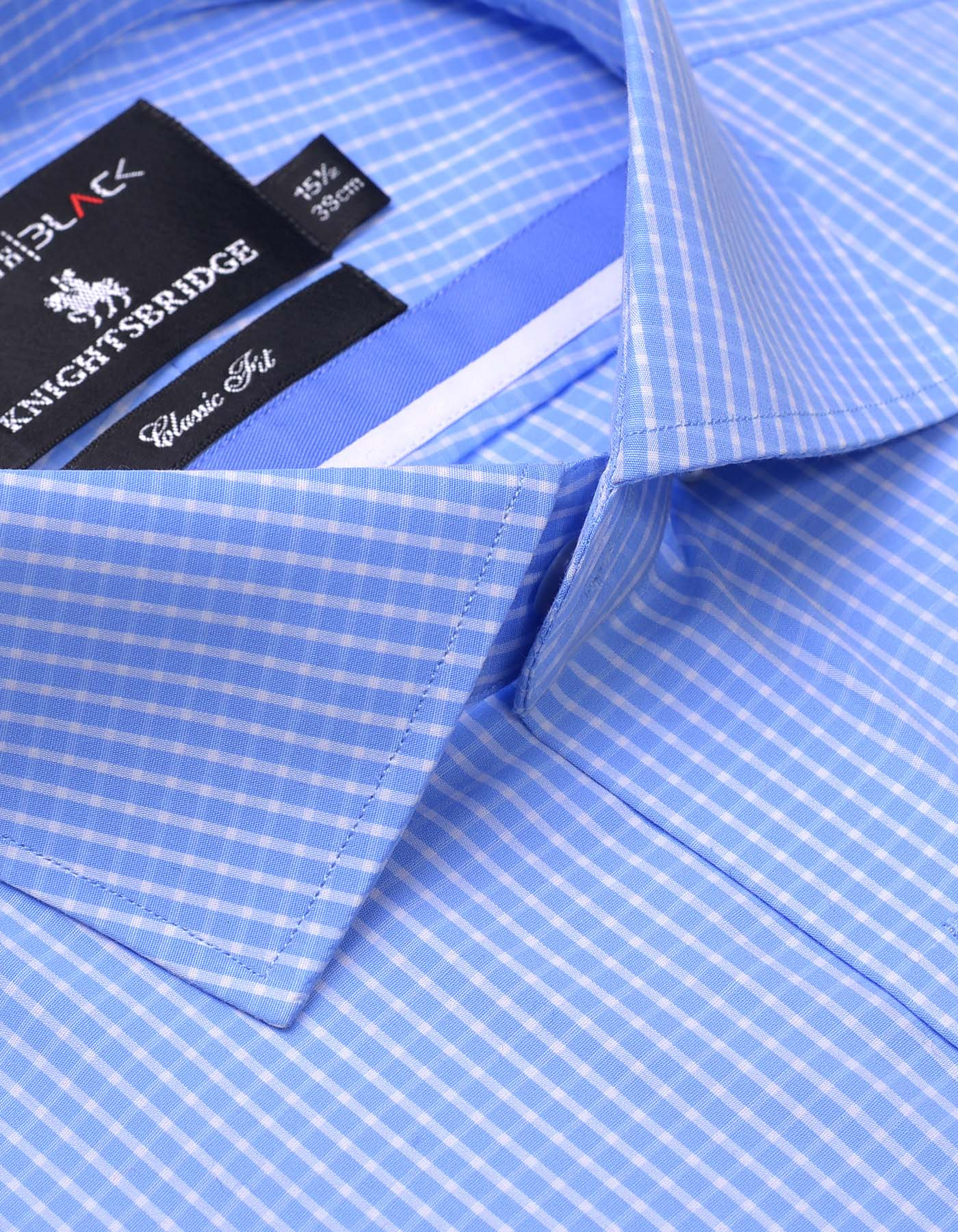 SKY BLUE AND WHITE CHECK CLASSIC FIT DRESS SHIRT