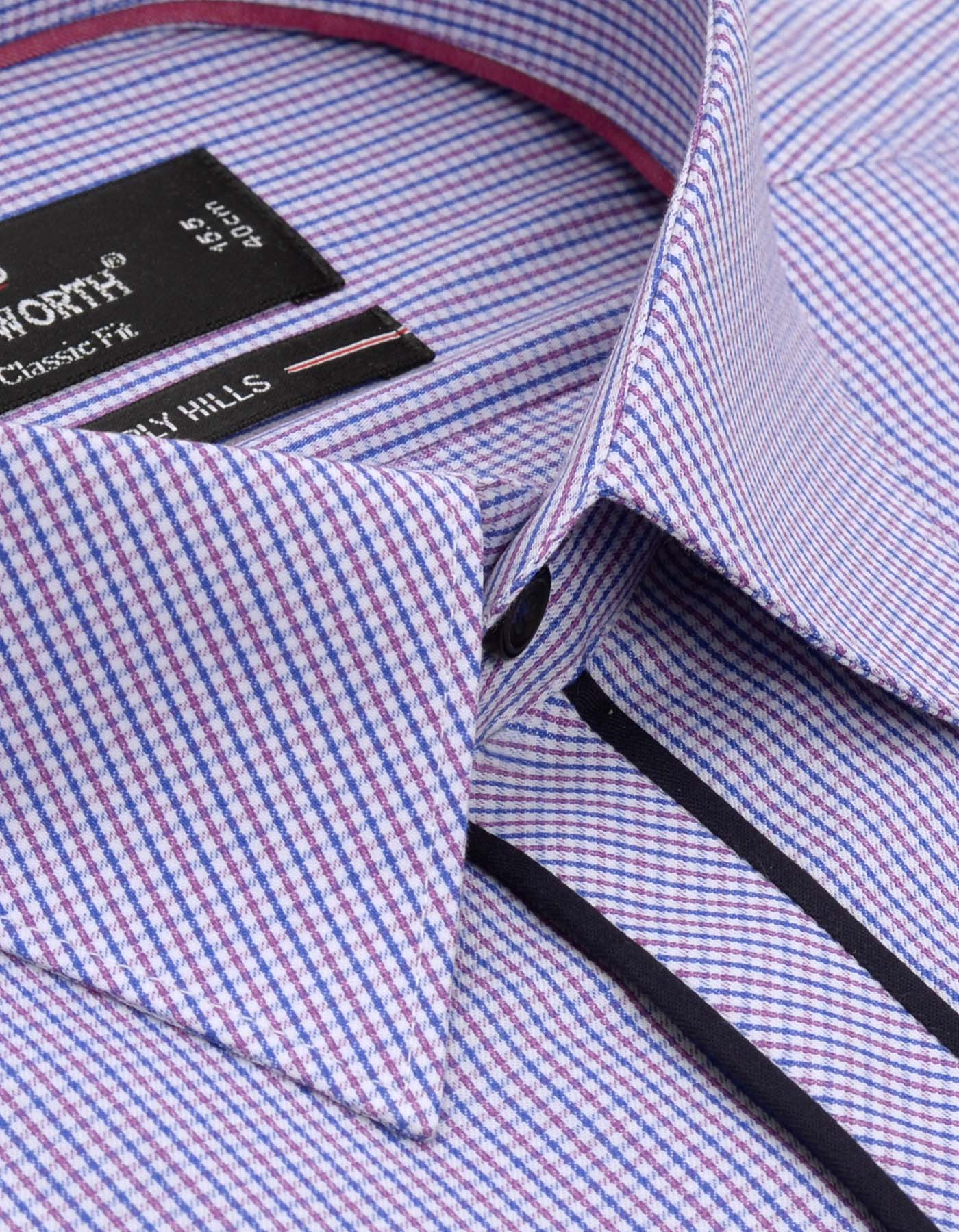 Beverly Hills White And Purple Narrow Check Classic Fit Men's Dress