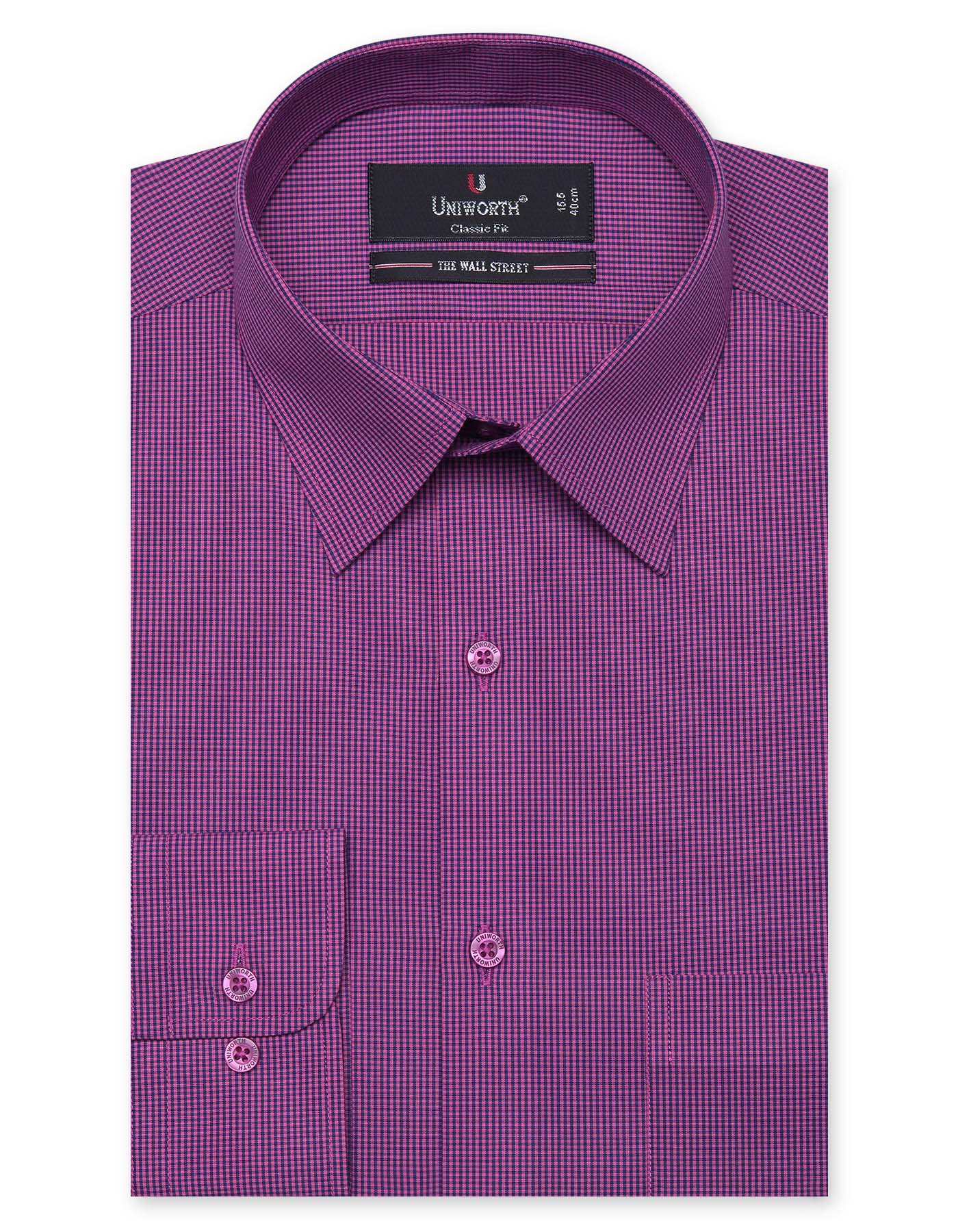Navy Blue And Dark Pink Check Classic Fit Dress Shirt