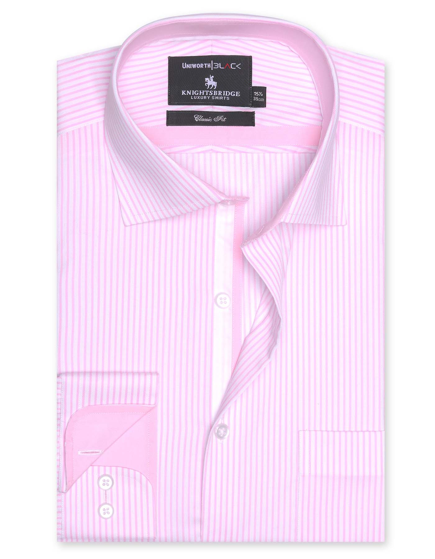White And Pink Striped Designer Classic Fit Shirt
