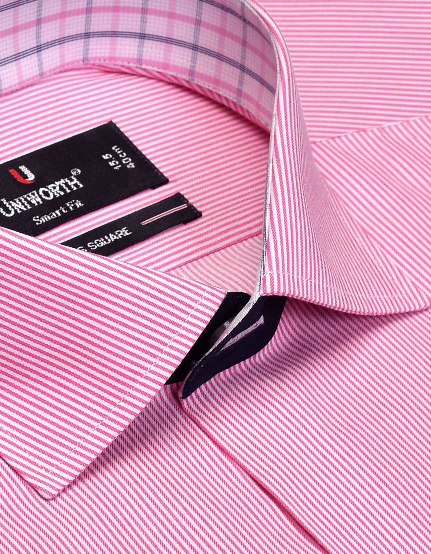 Pink And White Striped Smart Fit Designer Shirt