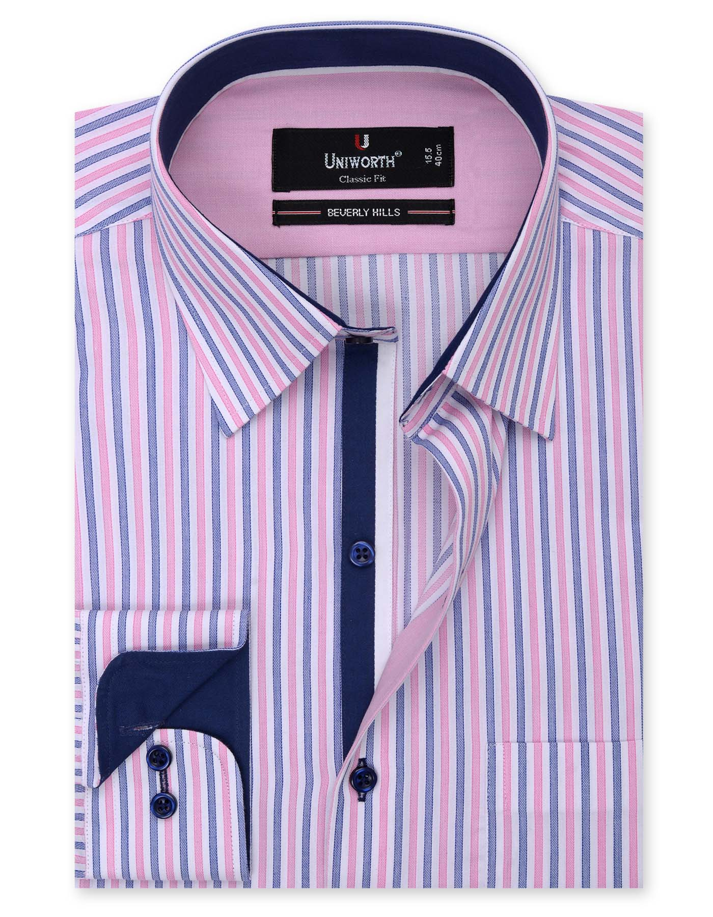 White And Pink Striped Classic Fit Designer Shirt