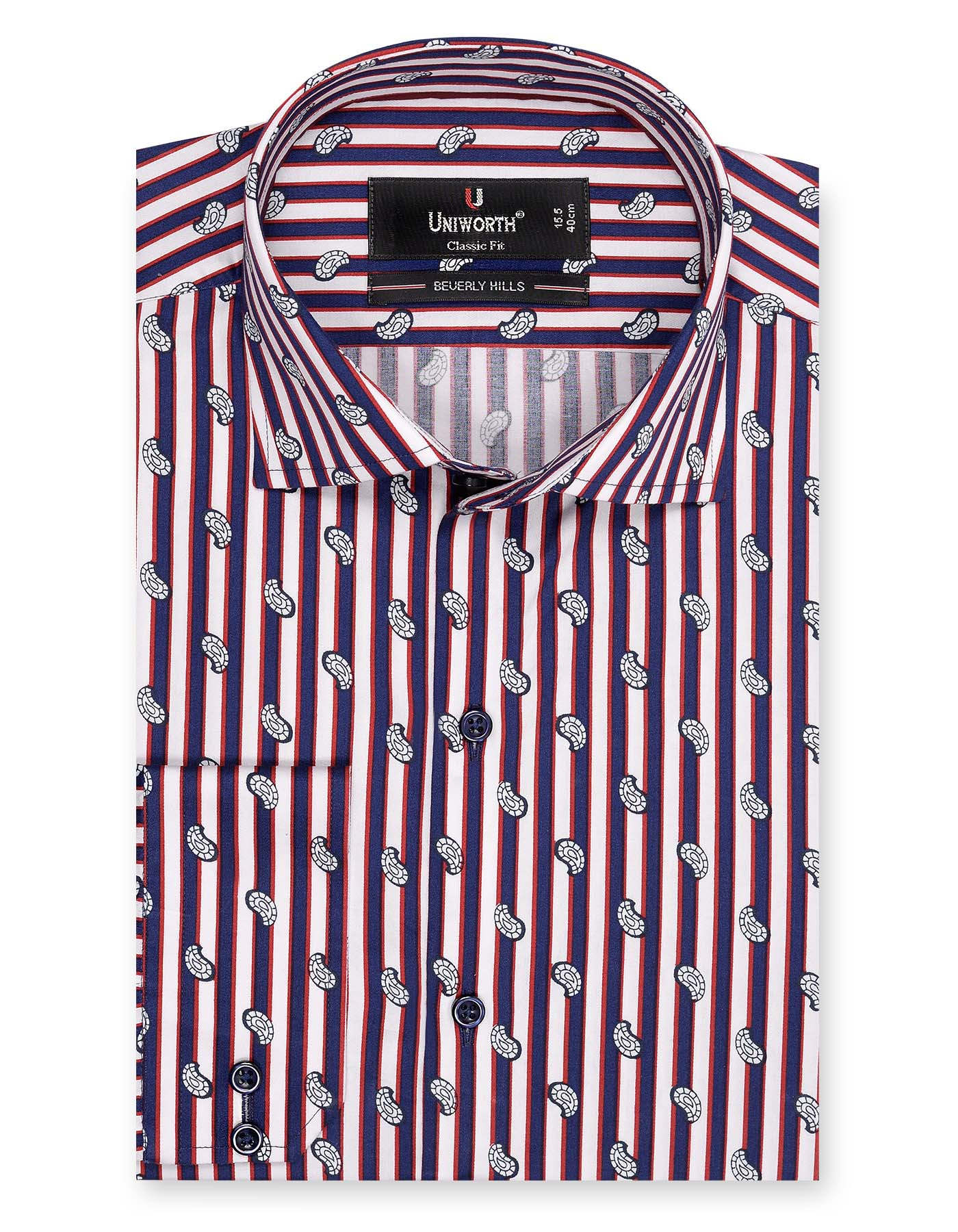 Beverly Hills Multi Striped With Small Paisley Designer Shirt