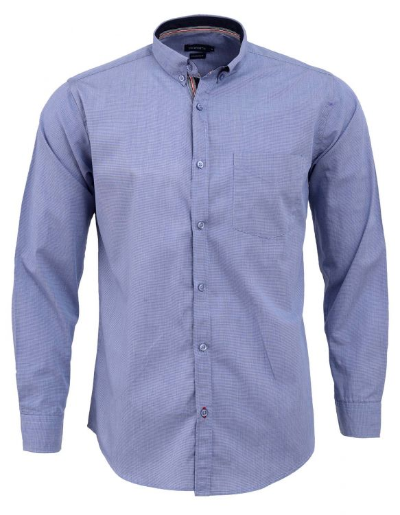BLUE SELF TEXTURE FULL SLEEVE CASUAL SMART FIT SHIRT