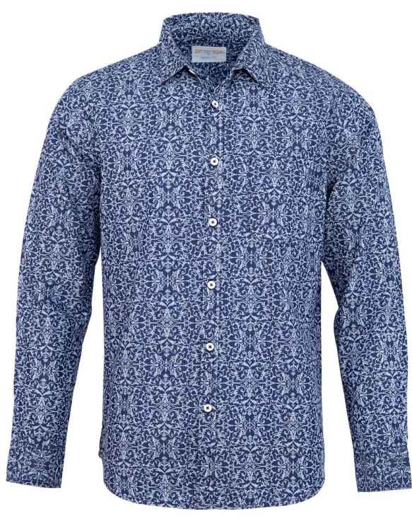 BLUE FLORAL CASUAL FULL SLEEVE SHIRT
