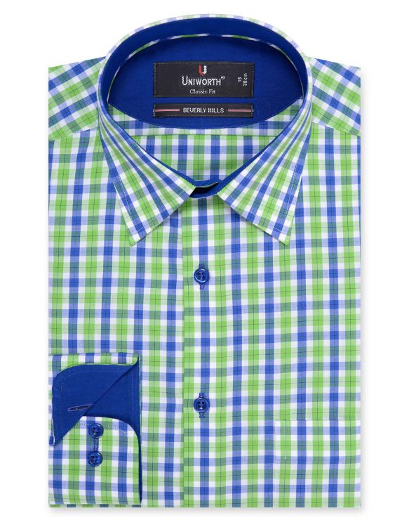 Designer Navy Blue And Green Check Classic Fit Shirt