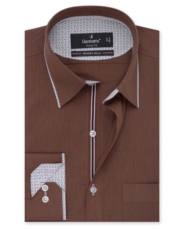 Brown Self Striped Classic Fit Designer Shirt