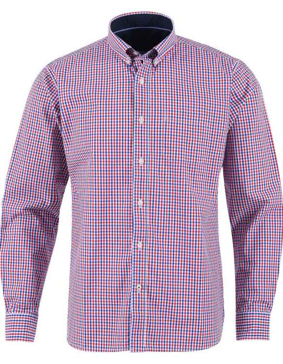 RED AND MULTI CHECK CASUAL FULL SLEEVE BUTTON DOWN SHIRT